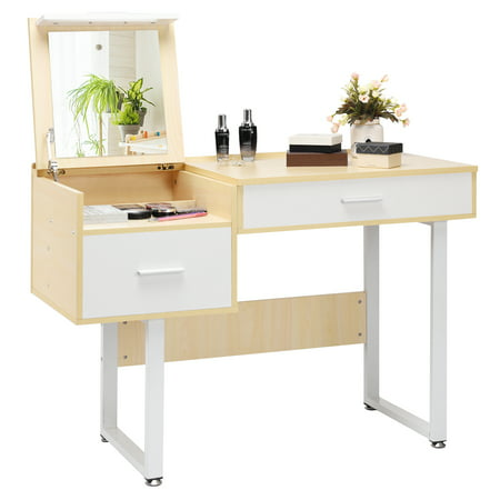 Costway Vanity Table with Flip Top Square Mirror Makeup Dressing Table Writing Table](Table With Mirror)