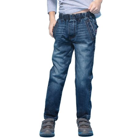 - Leo&Lily Boys' Husky Elastic Waist Denim Jeans Pants Trousers Blue