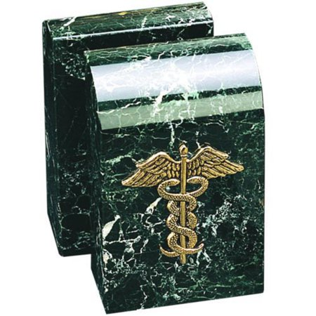 Medical Caduceus Icon Bookends - Black Marble with Green Tone Highlights ()