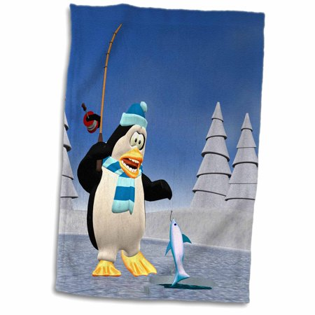 3dRose A cartoon penguin fishing on the ice - Towel, 15 by