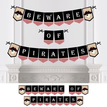 Beware of Pirates - Pirate Themed Party Bunting Banner - Birthday Party Decorations - Halloween Pirate Theme Decorations
