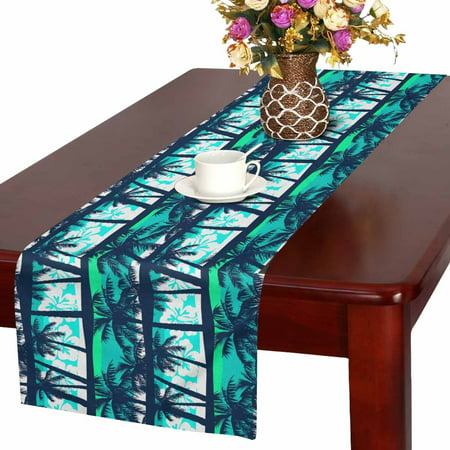 MKHERT Palm Tree Table Runner, Tropical Coconut Table Cloth Runner for Wedding Party Banquet Decoration 16x72 inch - Palm Tree Table Decorations