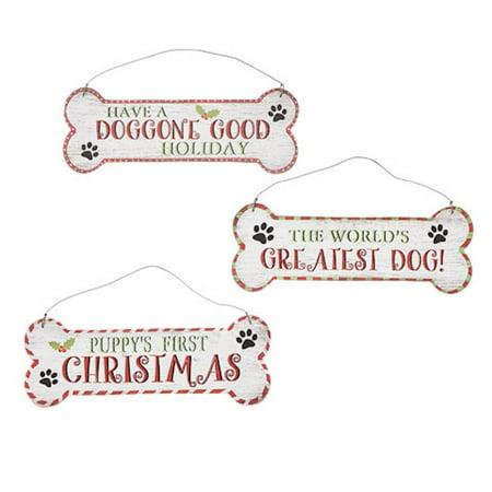 Dogs First Christmas Ornament.Darice Christmas Decor Mdf Puppy Dog Bone Ornaments 3pc