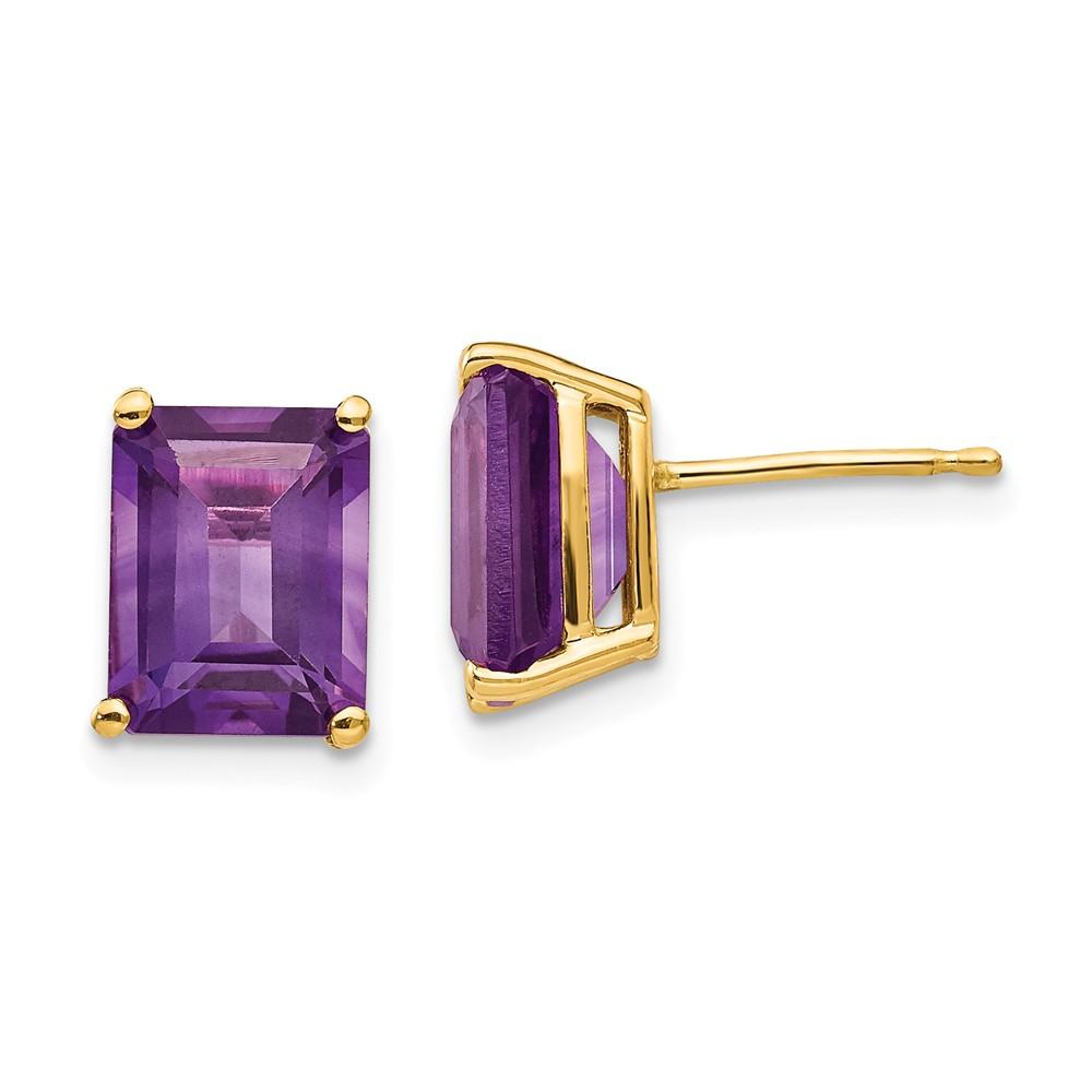 14k Yellow Gold 9x7mm Emerald Cut Amethyst Earrings. Gem Wt- 4.3ct
