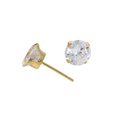10kt Yellow Gold 5mm Round CZ Stud Earrings