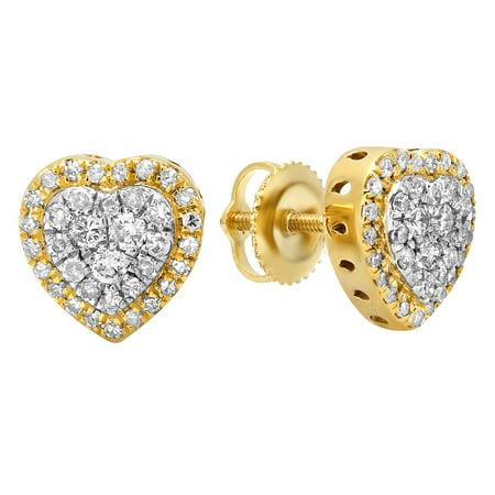 0.50 Carat (Ctw) 18K Yellow Gold Round White Diamond Ladies Heart Shaped Stud Earrings 1/2 (18k Yellow Gold Plain Dome)