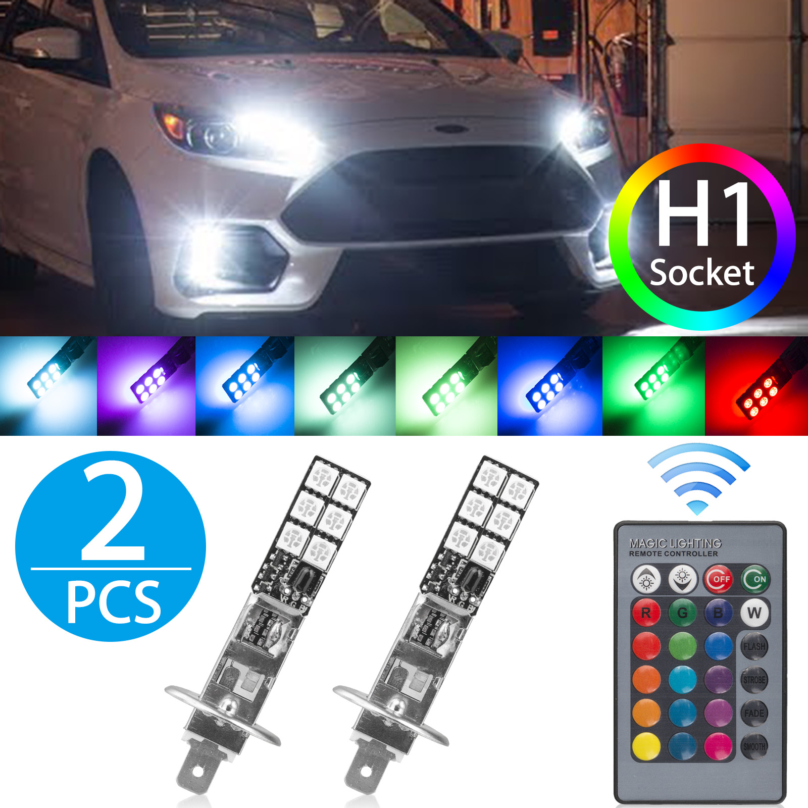 2-pack H1 LED Fog Light Bulb RGB Multicolor 16 Colors Switch 5050SMD Remote Control Flashing Lamps Car Trucks 12V Universal Replacement Accessories Modification