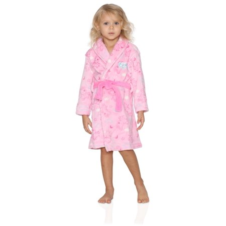 - Peppa Pig Toddler Girls Plush Fleece Bathrobe Robe, Pink, Size: 3T