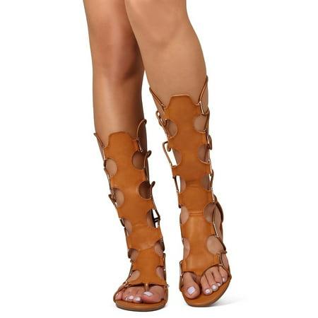 New Ladies Pretty Black Sandals - New Women Betani Pocahontas-9 Leatherette Elastic Zip Gladiator Thong Sandal