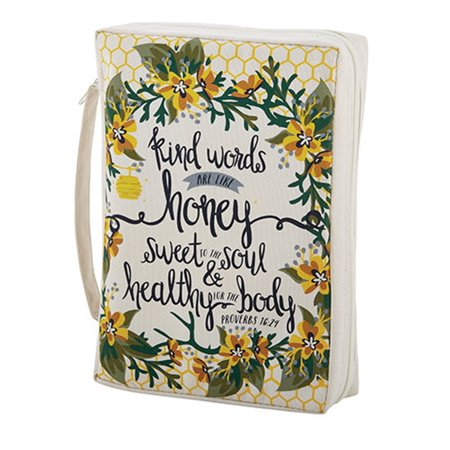 Bible Cover Kind Words Proverbs 16:24 NEW Sturdy Canvas With Handle Large
