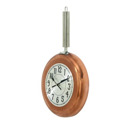 Decmode Eclectic 17 x 10 inch copper frying pan-inspired iron wall clock, Copper