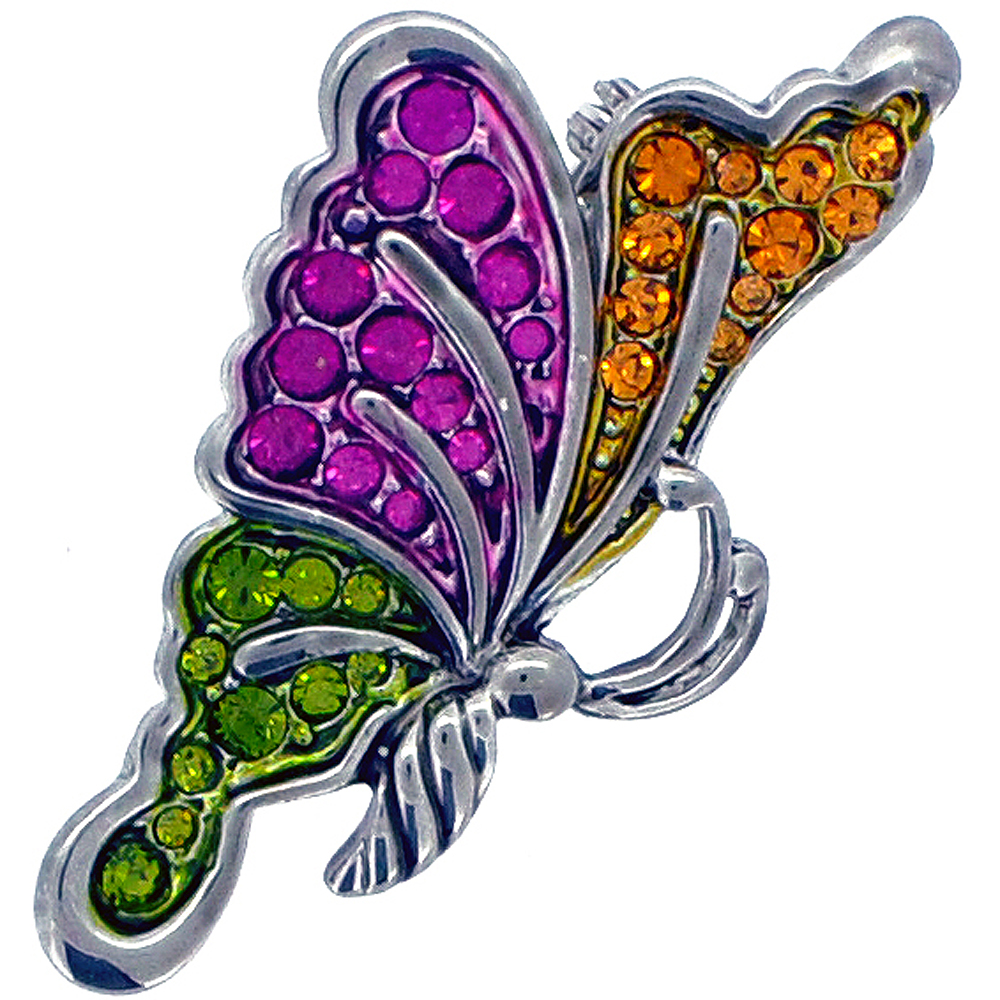 Multicolor Flying Butterfly Pin Brooch by
