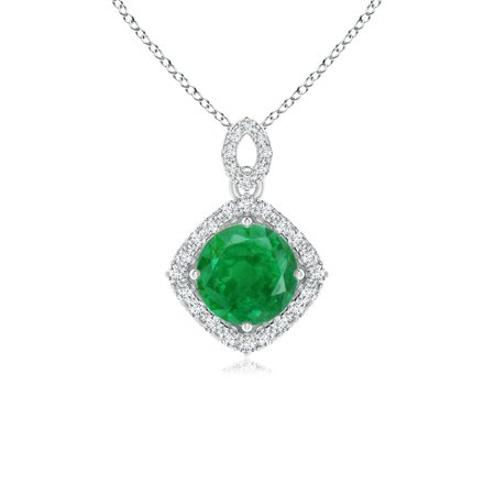 Mother's Day Jewelry - Vintage Inspired Round Emerald Pendant with Diamond Halo in 14K White & Rose Gold (6mm Emerald) - SP1593ED-WRG-AA-6 ()