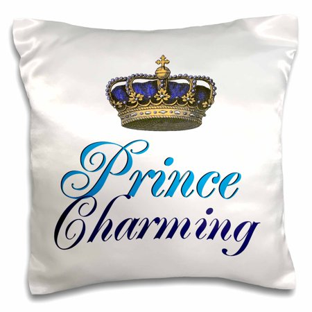 3dRose Prince Charming royal blue cursive script text with gold crown potential part of funny couple gift, Pillow Case, 16 by 16-inch Charming Purple Crystal