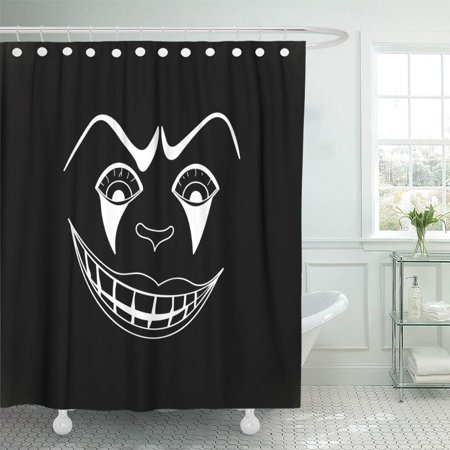 PKNMT Character White with Scary Clown Face on Black Autumn Cartoon Circus Creepy Dead Waterproof Bathroom Shower Curtains Set 66x72 inch