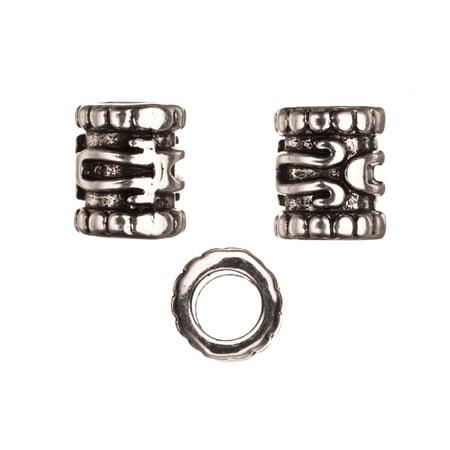 Adjustable Bracelets Component, Antique Silver-Plated, Mayan Symbols Patterned Round Slider Beads