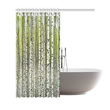 GCKG Home Bath Decor Fabric Green Birch Tree Shower Curtain Hooks 66x72 Inches Bare
