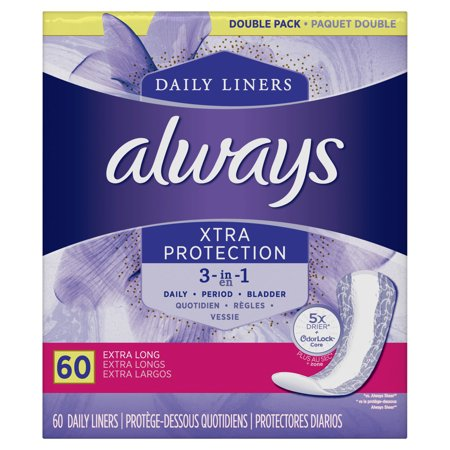 - Always Xtra Protection 3 in 1 Daily Liners, Extra Long, 60 Count