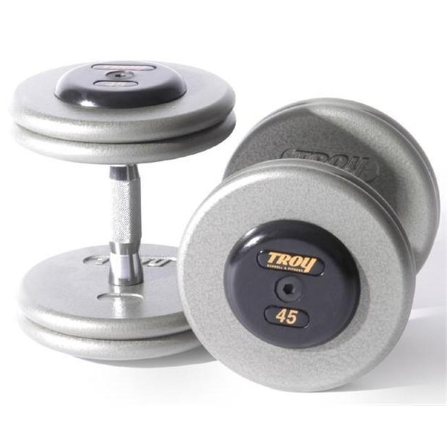 Troy Barbell HFDC-150R Pro-Style Fix Dumbbells With Gray Plates And Rubber End Cap - 150 Pounds - Sold as Pairs