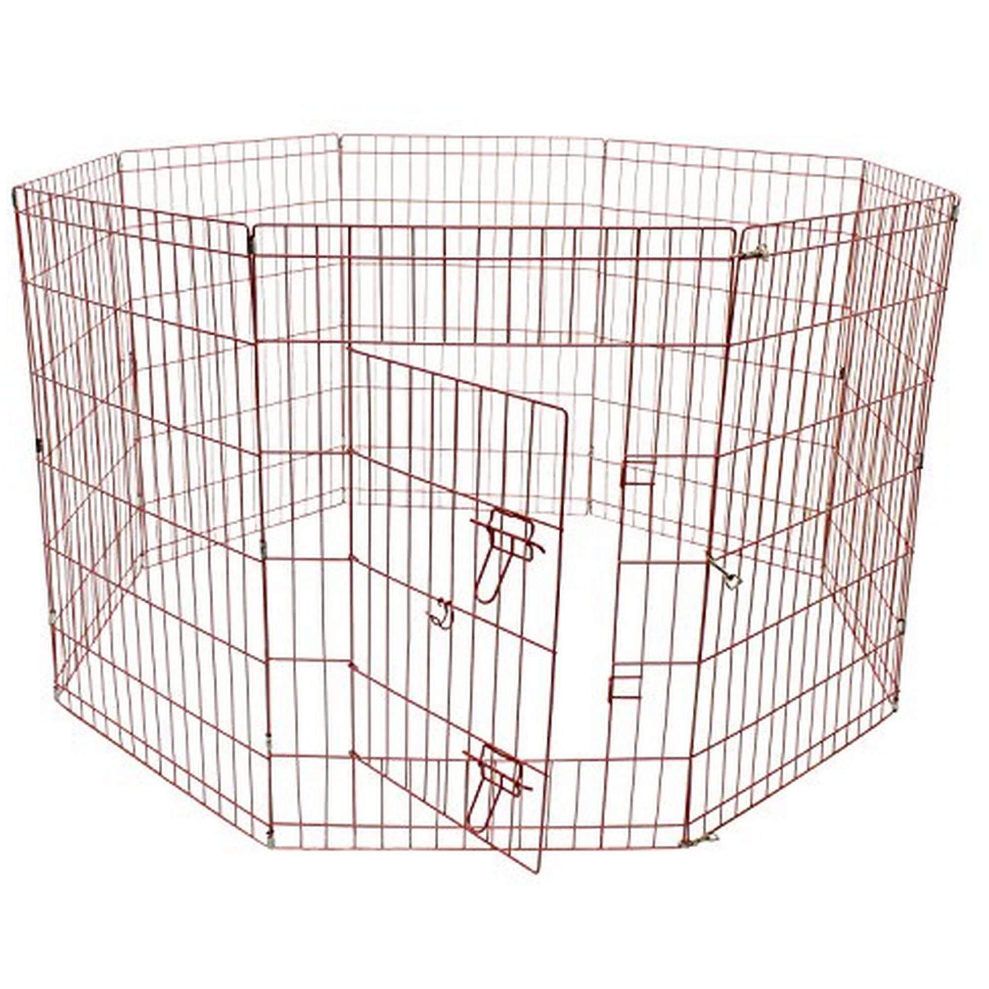 Aleko SDK-24P Dog Playpen Pet Kennel Pen Exercise Cage Fence, 8-Panel, Pink