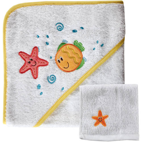 Luvable Friends Baby Woven Hooded Towel with Washcloth, Yellow
