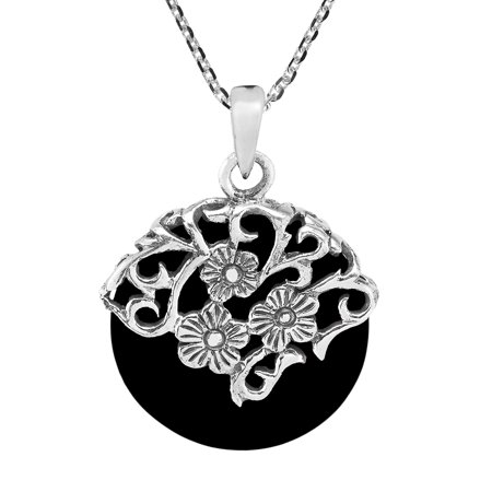 Daisy Vines Adorned Black Onyx Circle Disc Sterling Silver - Black Onyx Silver Necklace