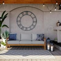 Modway Marina Outdoor Patio Teak Sofa, Multiple Colors