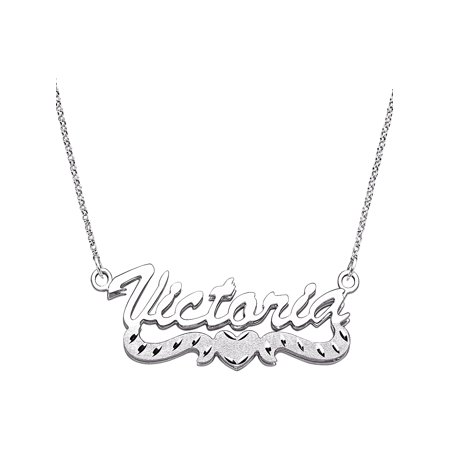 Sterling Silver Name Necklace - Personalized Large 3D Script Name with Diamond-Cut Heart Tail Sterling Silver Necklace, 18