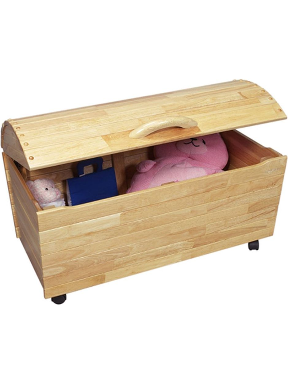 Natural Wood Arched Lid Medium Childrens Organizing Toy Chest Box by Gift Mark