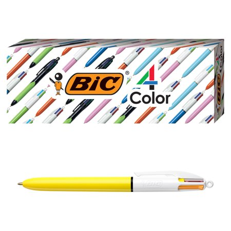 BIC 4-Color Fashion Ballpoint Pen, Yellow Barrel, Medium Point (1.0 mm), Assorted Inks, 4 Count