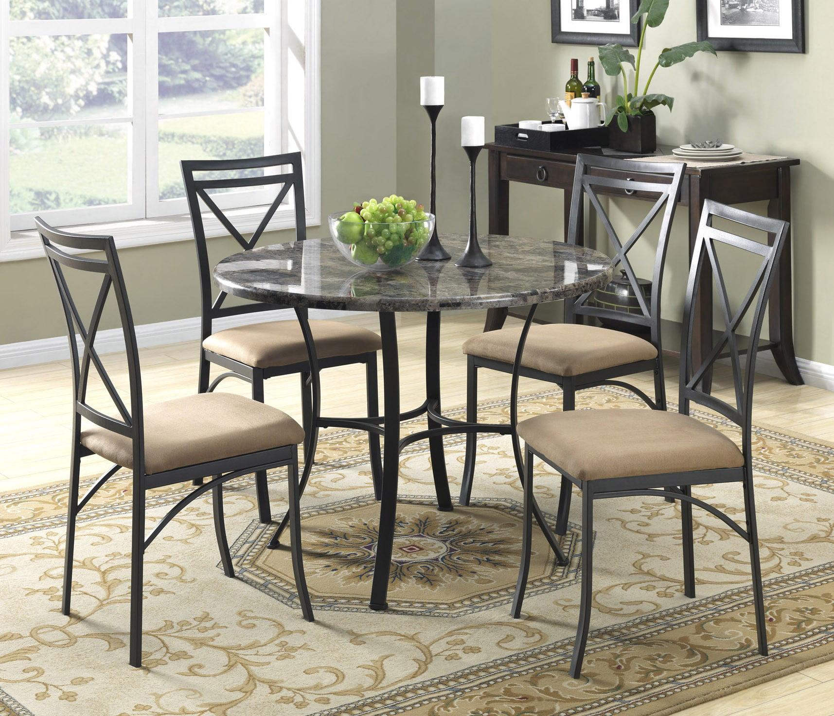 Mainstays 5 Piece Faux Marble Top Dining Set Black Coffee Walmart Com Walmart Com