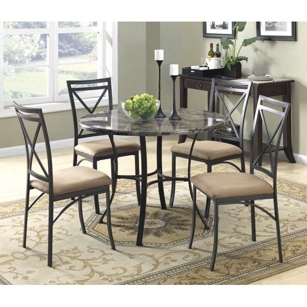 Mainstays 5-Piece Faux Marble Top Dining Set