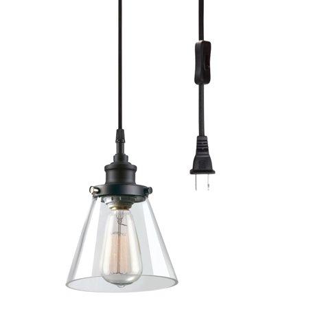 Halva Pendant Light - Globe Electric Watt Skylar 1-Light Matte Black Plug-In Pendant