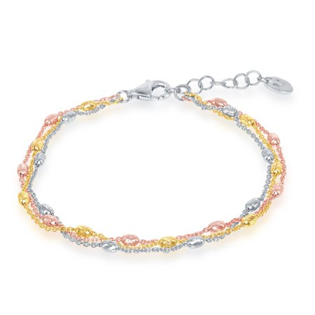 Blossom Strand Bracelets (Beaux Bijoux Sterling Silver Italian Tri-color Triple Strand Oval Beaded 7+1'')