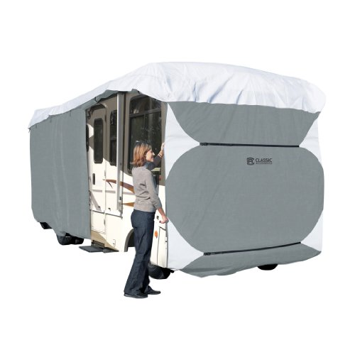 Grey Fits 30-33 Travel Trailer or Toy Hauler XGear Outdoors Travel Trailer RV Cover with 3-Ply Roof for Max Weather Protection