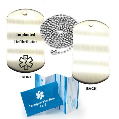 Implanted Defibrillator Stainless Steel Medical Alert ID Dog Tag Pendant
