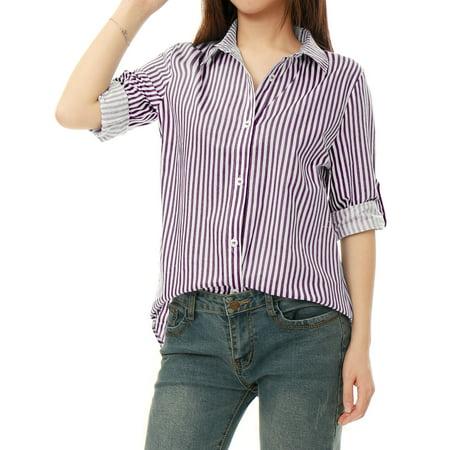 Unique Bargains Women's Long Roll Up Sleeves Button Down Vertical Stripes Shirt Dark Purple (Size XL /