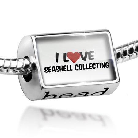 Bead I Love Seashell collecting Charm Fits All European Bracelets
