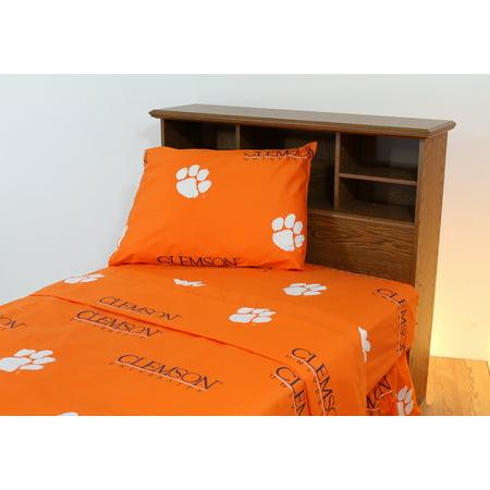 Clemson Tigers 100% cotton, 3 piece sheet set - flat sheet, fitted sheet, 1 pillow case, Twin, Team Colors