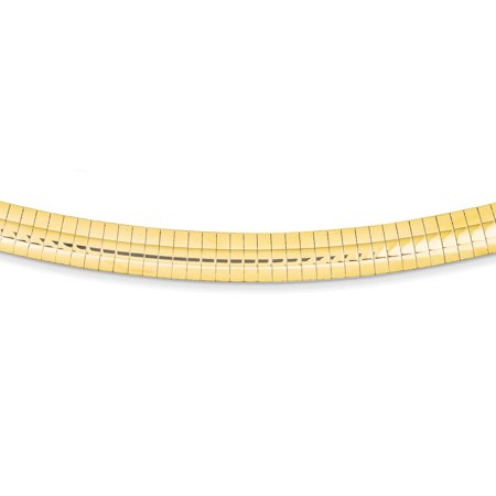 14K Yellow Gold 8mm Domed Omega Necklace 16 Inch