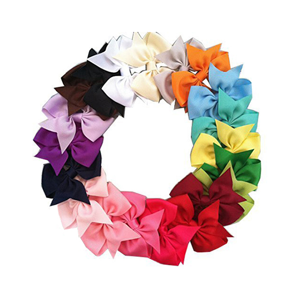 Boutique Hair Bows for Baby Girls Alligator Clip Grosgrain Ribbon Hair Clips with 20 Colors