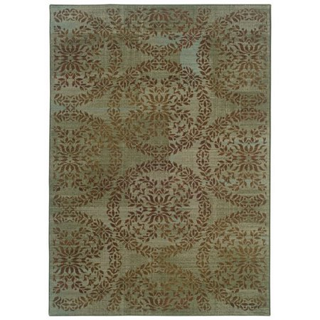 - Sphinx Nadira Area Rugs - 1330L Transitional Casual Blue Floral Leaves Vines Circles Rug