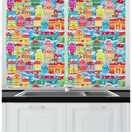 City Curtains 2 Panels Set, Colorful Town Design Ornamental Winter Holiday Christmas Time Architecture Pattern, Window Drapes for Living Room Bedroom, 55W X 39L Inches, Multicolor, by Ambesonne ()