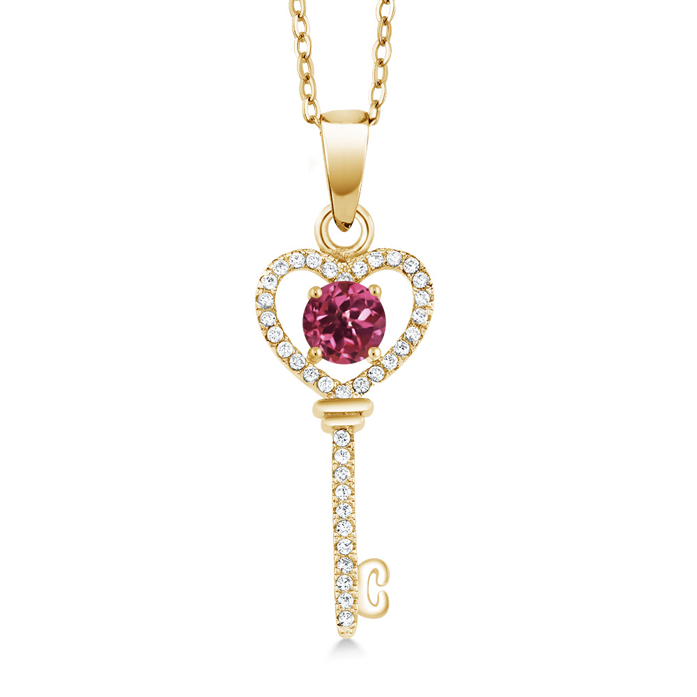 0.94 Ct Round Pink Tourmaline 18K Yellow Gold Plated Silver Key Pendant by