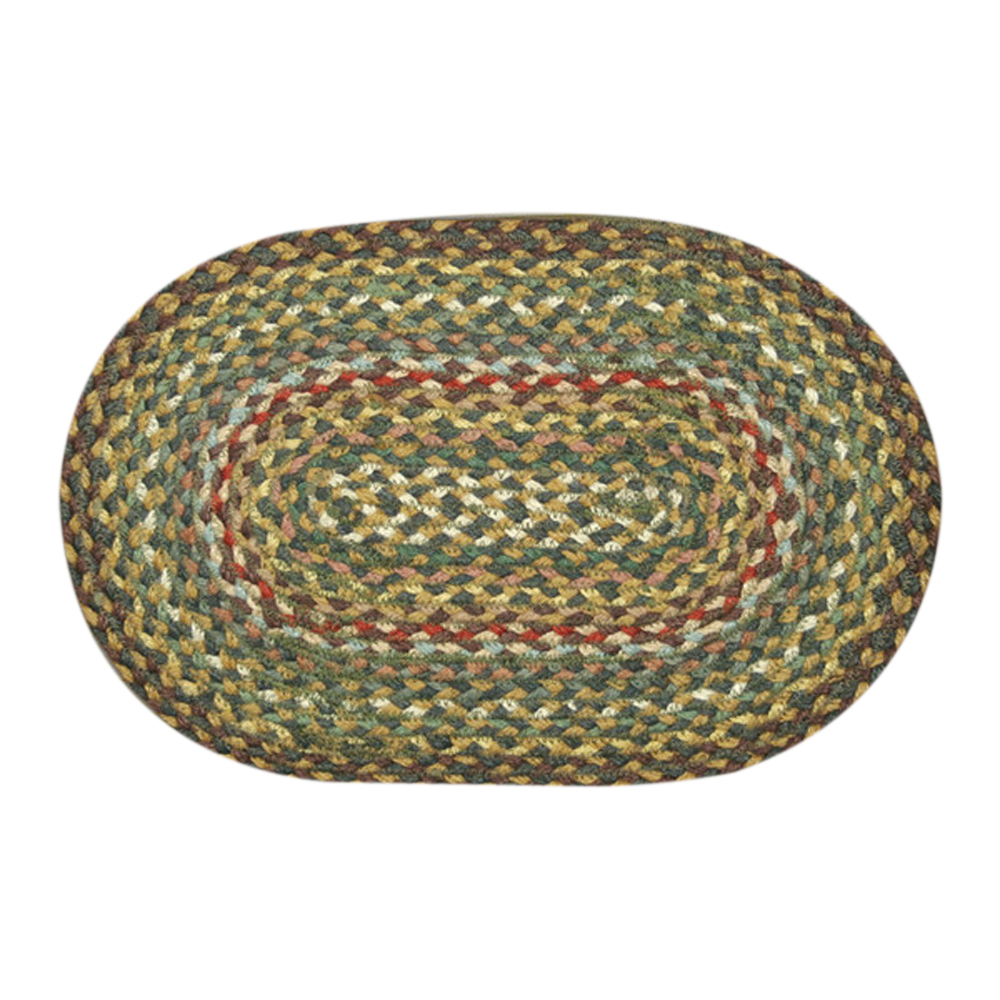 "Earth Rugs MS-051 Oval Swatch, 10 x 15"""", Fir/Ivory"