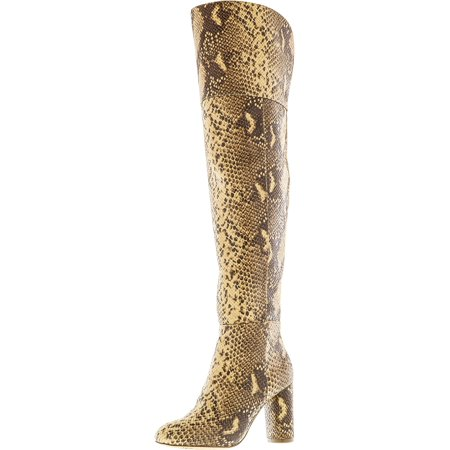 Women's Tyliee Tan Snake Above the Knee Leather Boot -