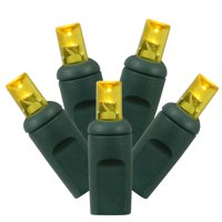 """Vickerman 70 Light LED Yellow Lights, Green Wire Wide Angle End Connecting Set 1Pc 6"""" Bulb Spacing, 35' Long"""