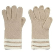 Fownes Womens Soft Tan & Ivory Stripes Knit Gloves
