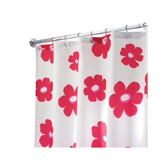 InterDesign 35320 Poppy Shower Curtain Red White