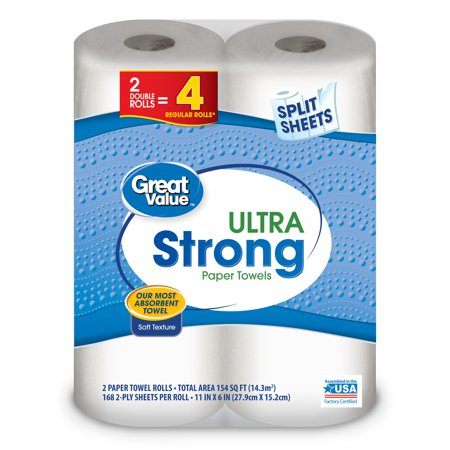 Great Value Paper Towels  Split Sheets  2 Double Rolls